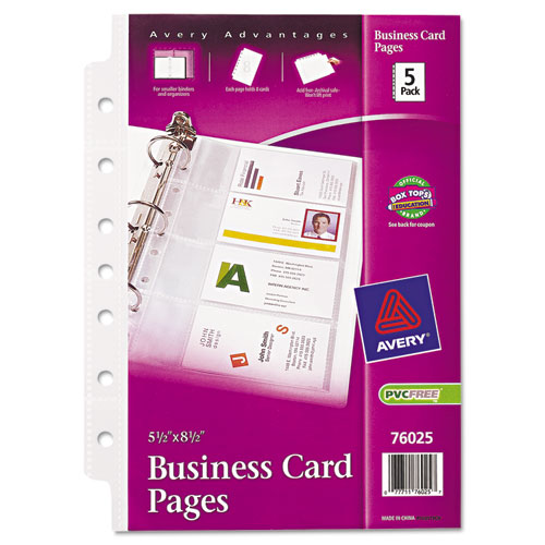 Business Card Binder Pages, 2 x 3 1/2, 8 Cards/Sheet, 5 Pages/Pack
