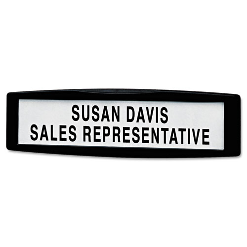 Plastic Partition Additions Nameplate, 9 x 2 1/2, Graphite | by Plexsupply