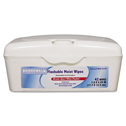 boardwalk flushable moist wipes 7 x 5 1 4 fresh scent 42 tub 12