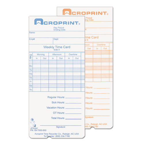 Weekly Time Cards for ATR240 and ATR360, 250/Pack | by Plexsupply