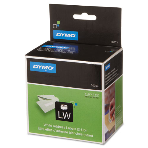 """DYMO® LabelWriter 2-UP Address Labels, 1.12"""" x 3.5"""", White, 700 Labels/Roll"""