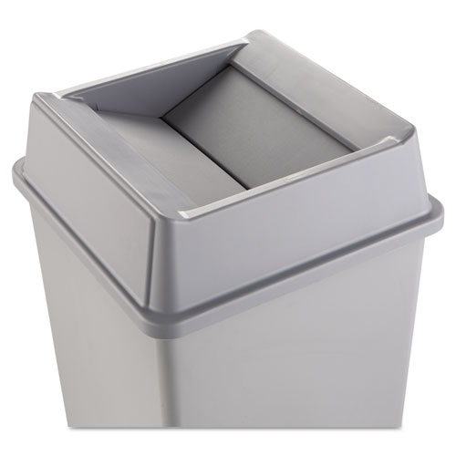 Untouchable Square Swing Top Lid, Plastic, 20.13w x 20.13d x 6.25h, Gray