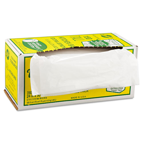 "Warp's® Industrial Strength Flex-O-Bags Trash Can Liners, 13 gal, 1.25 mil, 24"" x 30"", White"