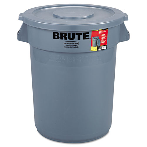 Rubbermaid® Commercial Brute Container with Lid, Round, Plastic, 32 gal, Gray