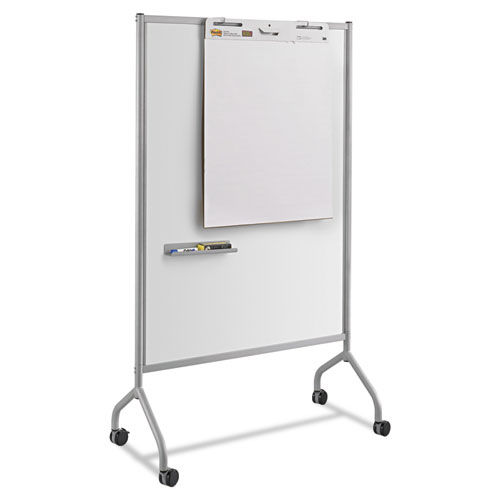 Impromptu Magnetic Whiteboard Collaboration Screen, 42w x 21.5d x 72h, Gray/White | by Plexsupply