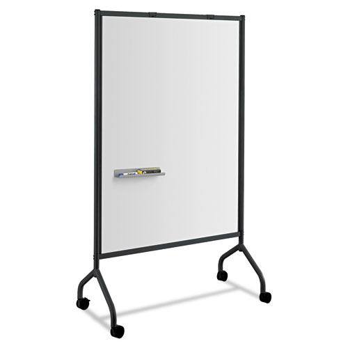 Impromptu Magnetic Whiteboard Collaboration Screen, 42w x 21.5d x 72h, Black/White | by Plexsupply