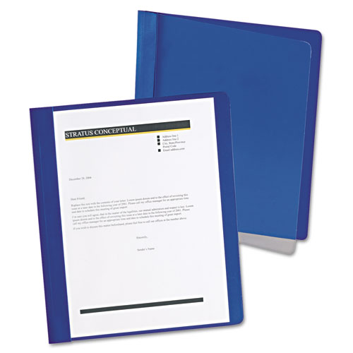 Oxford™ Extra-Wide Clear Front Report Covers, Letter Size, Dark Blue, 25/Box