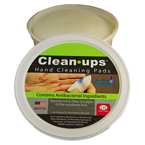 "LEE Clean-Ups Hand Cleaning Pads, Cloth, 3"" dia, 60/Tub"