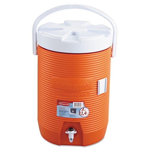 Water Cooler, 3 gal, 12.5  dia x 16.75 h, Orange/White