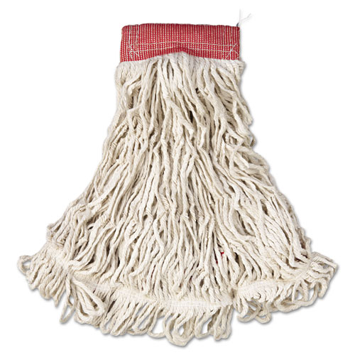 "Web Foot Wet Mop, Cotton/Synthetic, White, Large, 5"" Red Headband, 6/Carton 