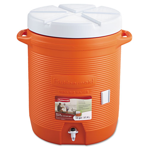 """Rubbermaid® Commercial Insulated Beverage Container, 10gal, 16"""" dia x 20 1/2h, Orange/White"""