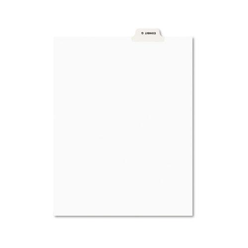 Avery-Style Preprinted Legal Bottom Tab Divider, Exhibit G, Letter, White, 25/PK | by Plexsupply