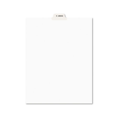 Avery-Style Preprinted Legal Bottom Tab Divider, Exhibit H, Letter, White, 25/PK | by Plexsupply