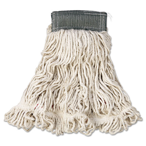 "Web Foot Wet Mop, Cotton/Synthetic, White, Medium, 5"" Green Headband, 6/Carton 
