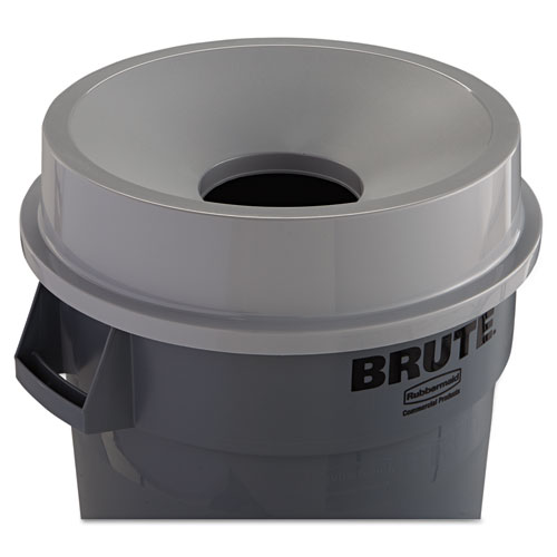 Round BRUTE Funnel Top Receptacle, 22.38w x 5h, Gray