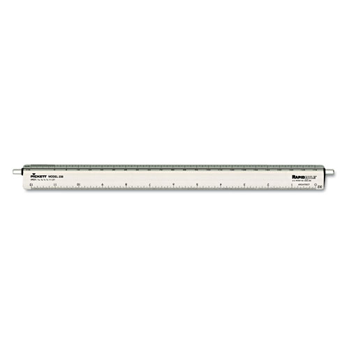 Adjustable Triangular Scale Aluminum Architects Ruler, 12, Silver
