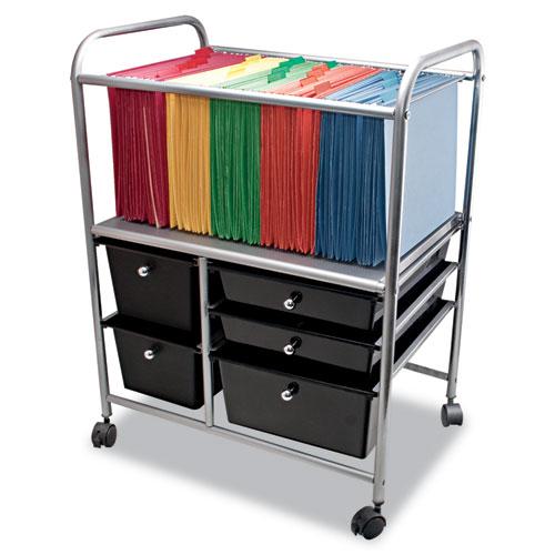 Letter/Legal File Cart w/Five Storage Drawers, 21.63w x 15.25d x 28.63h, Black