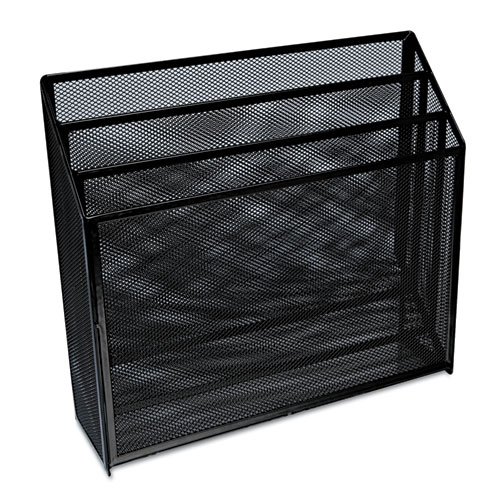 "Deluxe Mesh Three-Tier Organizer, 3 Sections, Letter Size Files, 12.63"" x 3.63"" x 11.5"", Black 