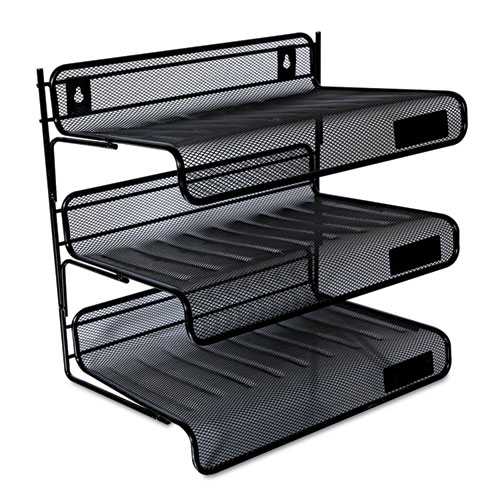 Deluxe Mesh Three-Tier Desk Shelf, 3 Sections, Letter Size Files, 13.25 x 9.25 x 12.38, Black