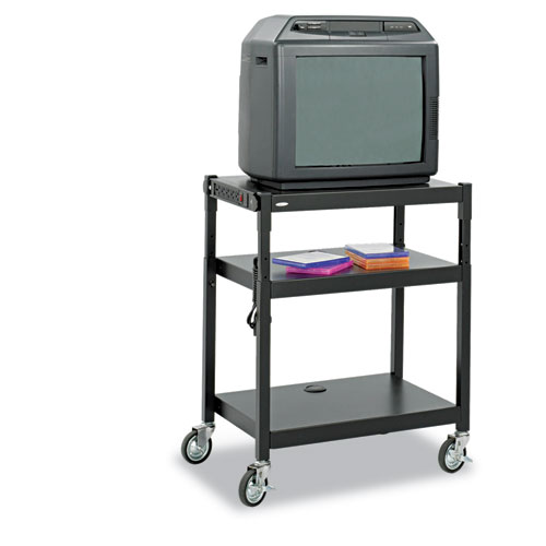Adjustable-Height Steel AV Cart, 27-1/4w x 18-1/4d x 28-1/2 to 36-1/2h, Black 8932BL