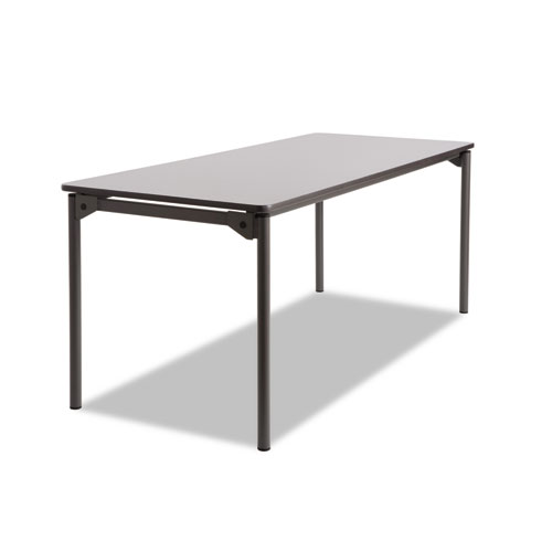 Maxx Legroom Rectangular Folding Table, 72w x 30d x 29-1/2h, Gray/Charcoal | by Plexsupply