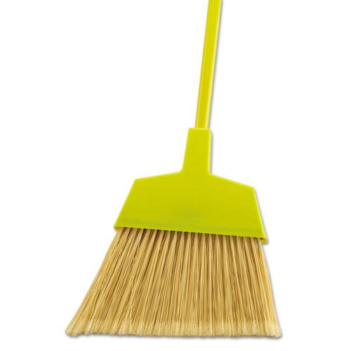 Poly Bristle Angler Broom, 53 Handle, Yellow, 12/Carton