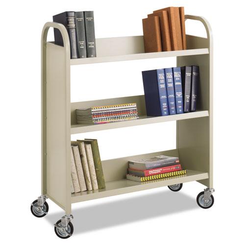 Steel Book Cart, Three-Shelf, 36w x 14.5d x 43.5h, Sand | by Plexsupply