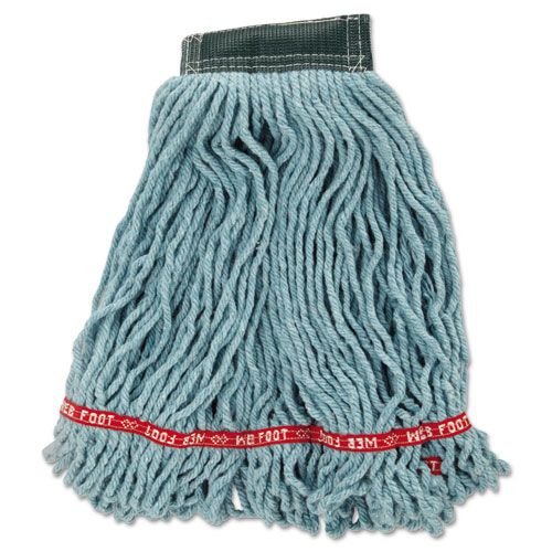 Web Foot Wet Mop Head, Shrinkless, Cotton/Synthetic, Green, Medium, 6/Carton | by Plexsupply