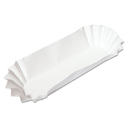 Fluted Hot Dog Trays, 6w x 2d x 2h, White, 500/Sleeve, 6 Sleeves/Carton | by Plexsupply