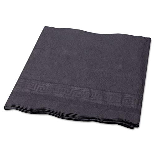 Tissue/Poly Tablecovers, 54 x 108, Black, 25/Carton