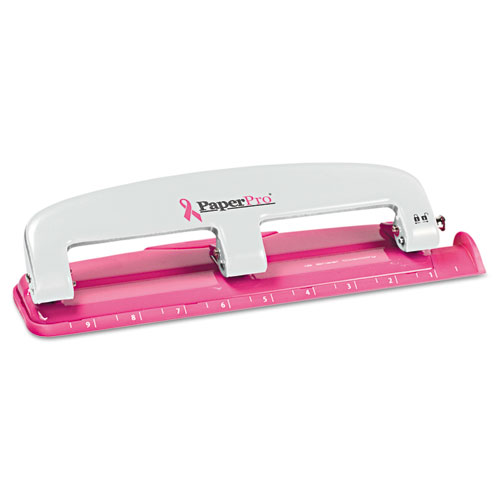 EZ Squeeze InCourage Three-Hole Punch, 12-Sheet Capacity, Pink | by Plexsupply