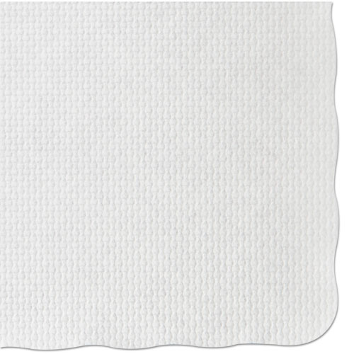 Knurl Embossed Scalloped Edge Placemats, 9.5 x 13.5, White, 1,000/Carton | by Plexsupply