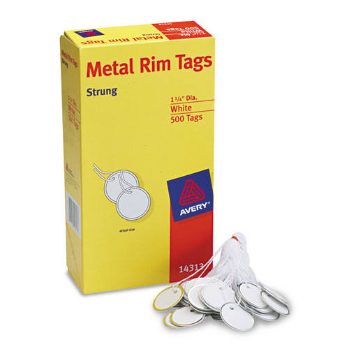 Heavyweight Stock Metal Rim Tags,  1 1/4 dia, White, 500/Box | by Plexsupply