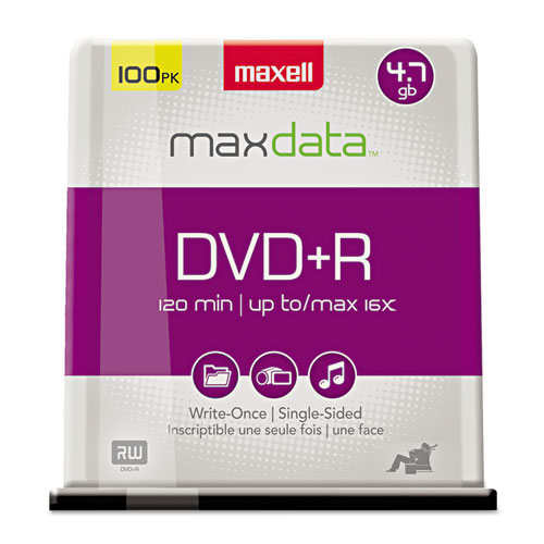 DVD+R Discs, 4.7GB, 16x, Spindle, Silver, 100/Pack | by Plexsupply