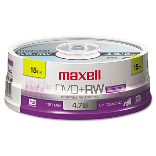 DVD+RW Discs, 4.7GB, 4x, Spindle, Silver, 15/Pack | by Plexsupply