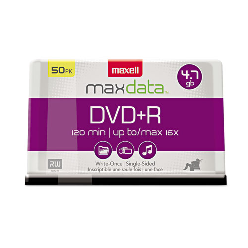 DVD+R Discs, 4.7GB, 16x, Spindle, Silver, 50/Pack | by Plexsupply