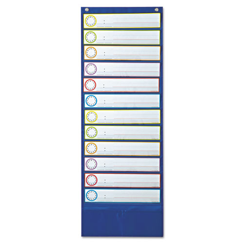 Deluxe Scheduling Pocket Chart, 12 Pockets, 13 x 36 | by Plexsupply
