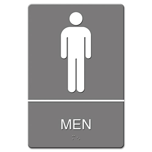 ADA Sign, Men Restroom Symbol w/Tactile Graphic, Molded Plastic, 6 x 9, Gray | by Plexsupply