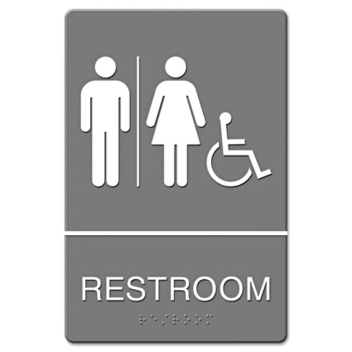 ADA Sign, Restroom/Wheelchair Accessible Tactile Symbol, Molded Plastic, 6 x 9 | by Plexsupply