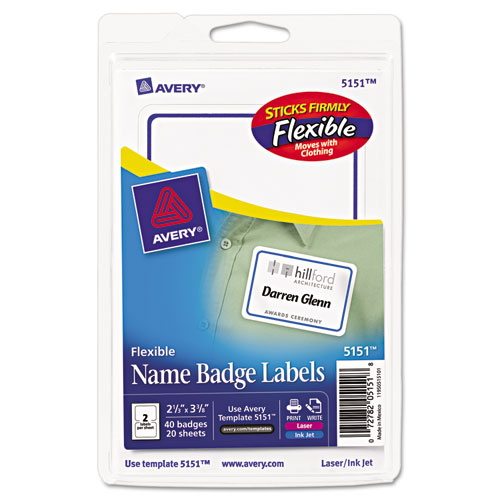 avery flexible adhesive name badge labels 2 1 3 x 3 3 8 be 40 pk
