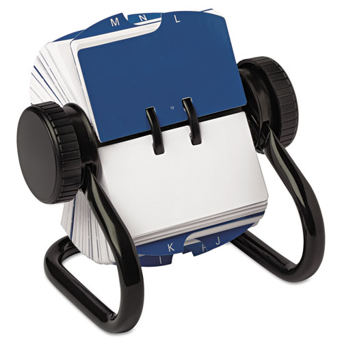 Open Rotary Card File Holds 250 1 3/4 x 3 1/4 Cards, Black | by Plexsupply