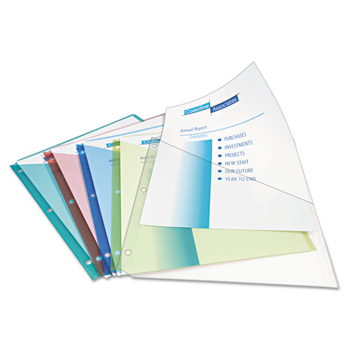 Binder Pockets, 3-Hole Punched, 9 1/4 X 11, Assorted