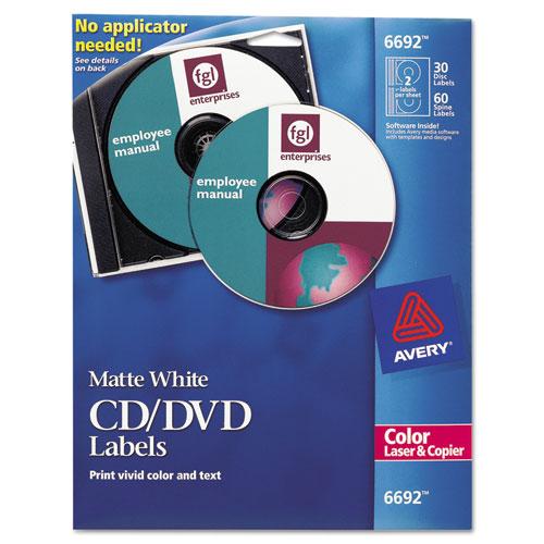 Laser CD Labels, Matte White, 30/Pack