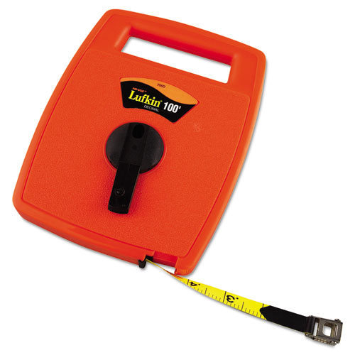Hi-Viz Linear Measuring Tape Measure, 1/2in x 100ft, Orange, Fiberglass Tape