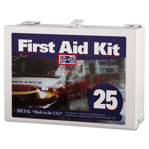First Aid Kit for Up to 25 People, 159-Pieces, Steel | by Plexsupply