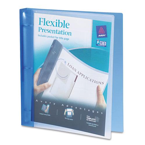 "Flexible Round Ring Binder, 11 x 8 1/2, 1"" Capacity, Blue"