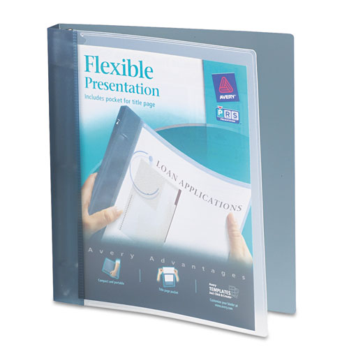 """Flexible View Binder with Round Rings, 3 Rings, 1"""" Capacity, 11 x 8.5, Gray 