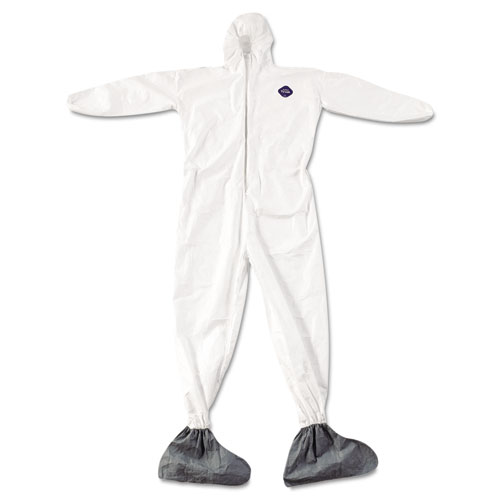 DuPont® Tyvek Elastic-Cuff Hooded Coveralls w/Boots, White, 4X-Large, 25/Carton DUPTY122S4XL