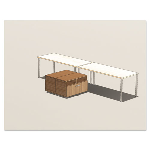 Mayline® e5 2-Person Workstation w/Beltway, 123-1/2w x 73d x 29-1/2h, Summer Suede/Cocoa