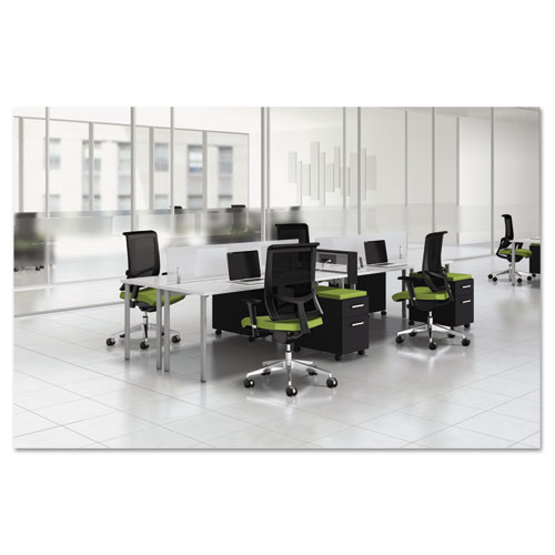 Mayline® e5 4-Person Workstation w/Beltway, 123-1/2w x 60d x 29-1/2h, Summer Suede/Cocoa